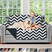 Sofa Shield Original Patent Pending Reversible Loveseat Slipcover, 2 Inch Strap Hook, Seat Width Up to 54 Inch Furniture Protector Washable, Couch Slip Cover for Pets, Love Seat, Chevron Navy White