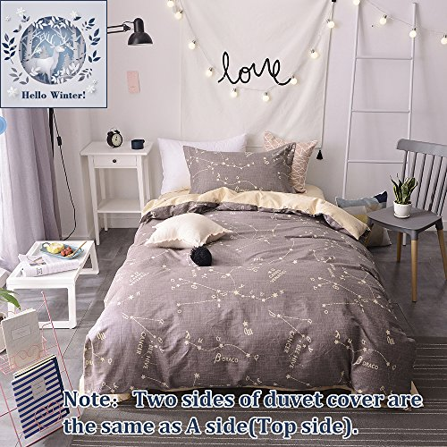 Womens Duvet (BuLuTu Bedding Constellation Print Twin Bedding Sets Cotton Reversible Space Kids Duvet Cover Sets Grey For Kids Adults Zipper Closure With Ties,Gift Ideas for Men,Women,Friends,Family,NO COMFORTER)