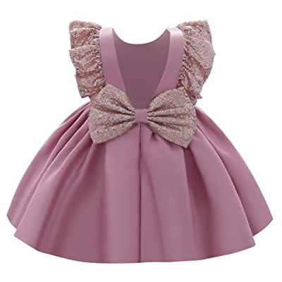 Kids Baby Girls Sparkly Sequin Party Wedding Bridesmaid Tutu Tulle Dress Costume