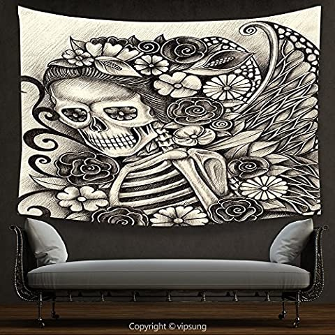 House Decor Tapestry Day Of The Dead Decor Spanish Mexican Festive Theme Skeleton Girl with Flowers Print Beige and Dimgrey Wall Hanging for Bedroom Living Room (Marilyn Monroe Bedroom Theme)