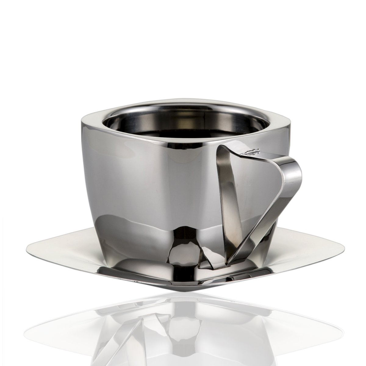 Coffee Cup Set Double Walled Coffee Mugs Stainless Steel Cup & Saucer 3 Ounce (90ml)