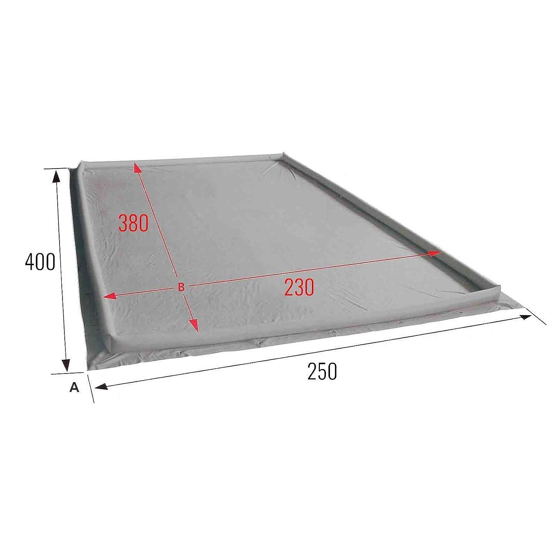 250 x 600 Eurotrail Air dam Vorzeltteppich R/änder aufblasbar Bodenplane PVC 400 g//qm