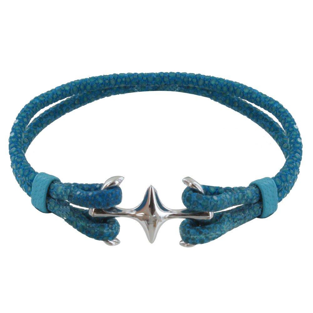 Les Poulettes Jewels - SIlver Rhodium Mixed Bracelet Double Anchor and Stingray - 18cm Colors - Turquoise