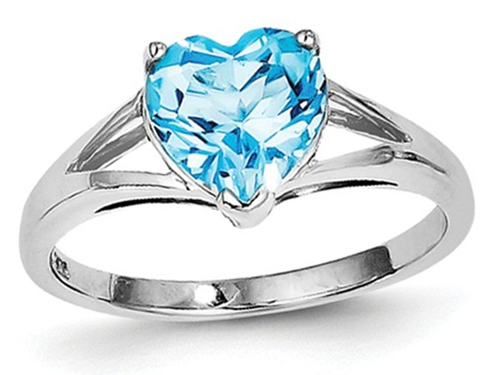 2.00 Carat (ctw) Blue Topaz Heart Promise Ring in Sterling Silver