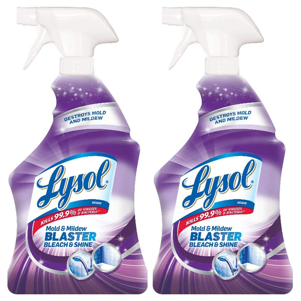 Lysol Mold & Mildew Blaster w. Bleach, Bathroom Cleaner Spray, 32oz (Pack of 2) (Renewed)