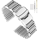 Stylish Stainless Steel Bracelet Straps Shark Mesh Watch Band Heavy H-Link Watch Bracelet Diving Metal Mesh Band with…