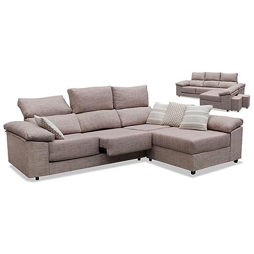 Muebles Baratos Sofá con Chaise Longue, 2 Pufs de Regalo ...