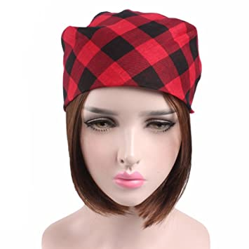 Amazon.com   LtrottedJ Women Men Plaid Bandanas Head Wrap Turban Hair  Accessories Headband (Red)   Beauty f30b11ef5c1