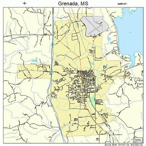 Amazoncom Large Street Road Map of Grenada Mississippi MS
