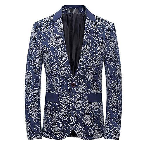 Blazer Slim Chaqueta Hombres Con Blau De Traje Flores Novia Fit Corte Los  Estampado Estilo Ropa ... 4f7f9843cbd8