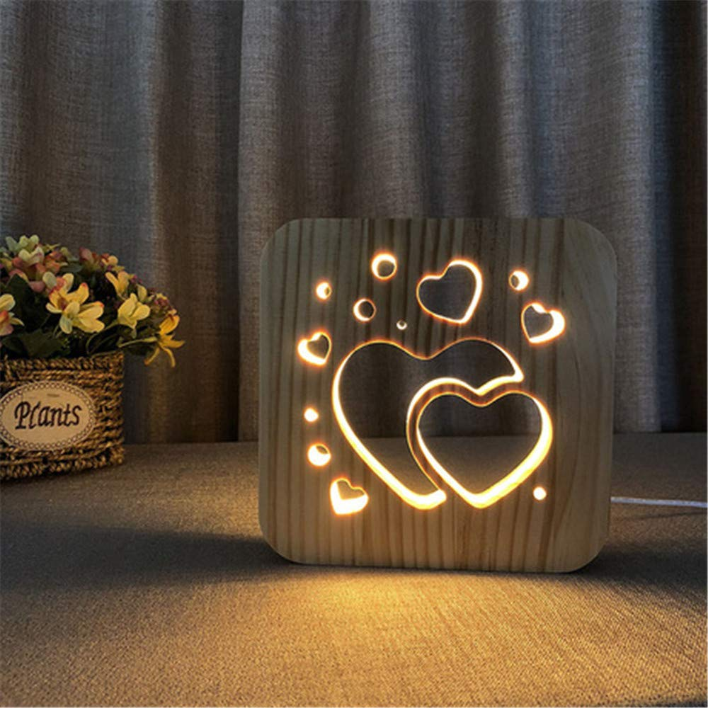 Night Light Kid Led Wooden Button Type 3D Wood Table Lamp USB Warm White, Two Hearts