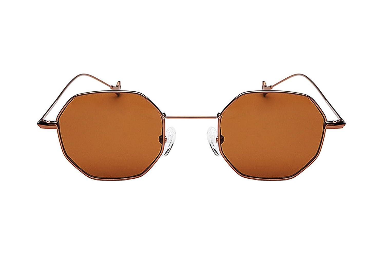 Gafas de sol Unisex cuadradas del hexágono retro vintage Gafas de metal  llano (Bronce y marrón)  Amazon.com.mx  Ropa 586c6f1557da