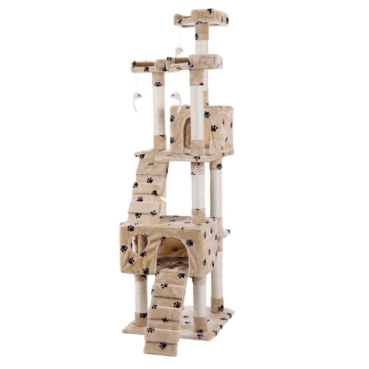 LAZYMOON 67'' Cat Tree 4-Tier Tower Condo Play House Furniture w/ Scratching posts and Toy Mouse Beige with Footprint by LAZYMOON (Image #5)