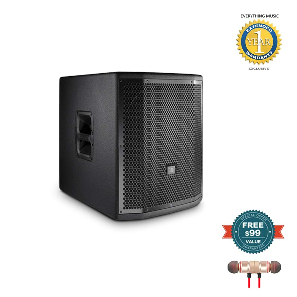 JBL PRX815XLFW Portable 15'' Self-Powered Low-Frequency Subwoofer System with WiFi includes Free Wireless Earbuds - Stereo Bluetooth In-ear and 1 Year Everything Music Extended Warranty