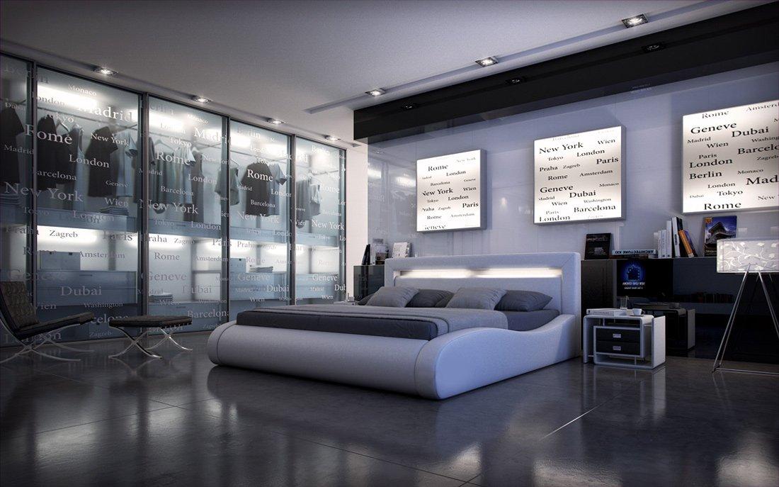 SAM® Polsterbett Sprint II in Weiß Bett 200 x 200 cm geschwungene Seitenteile Kopfteil mit Beleuchtung modernes abgerundetes Design Wasserbett geeignet teilzerlegt Lieferung per Spedition