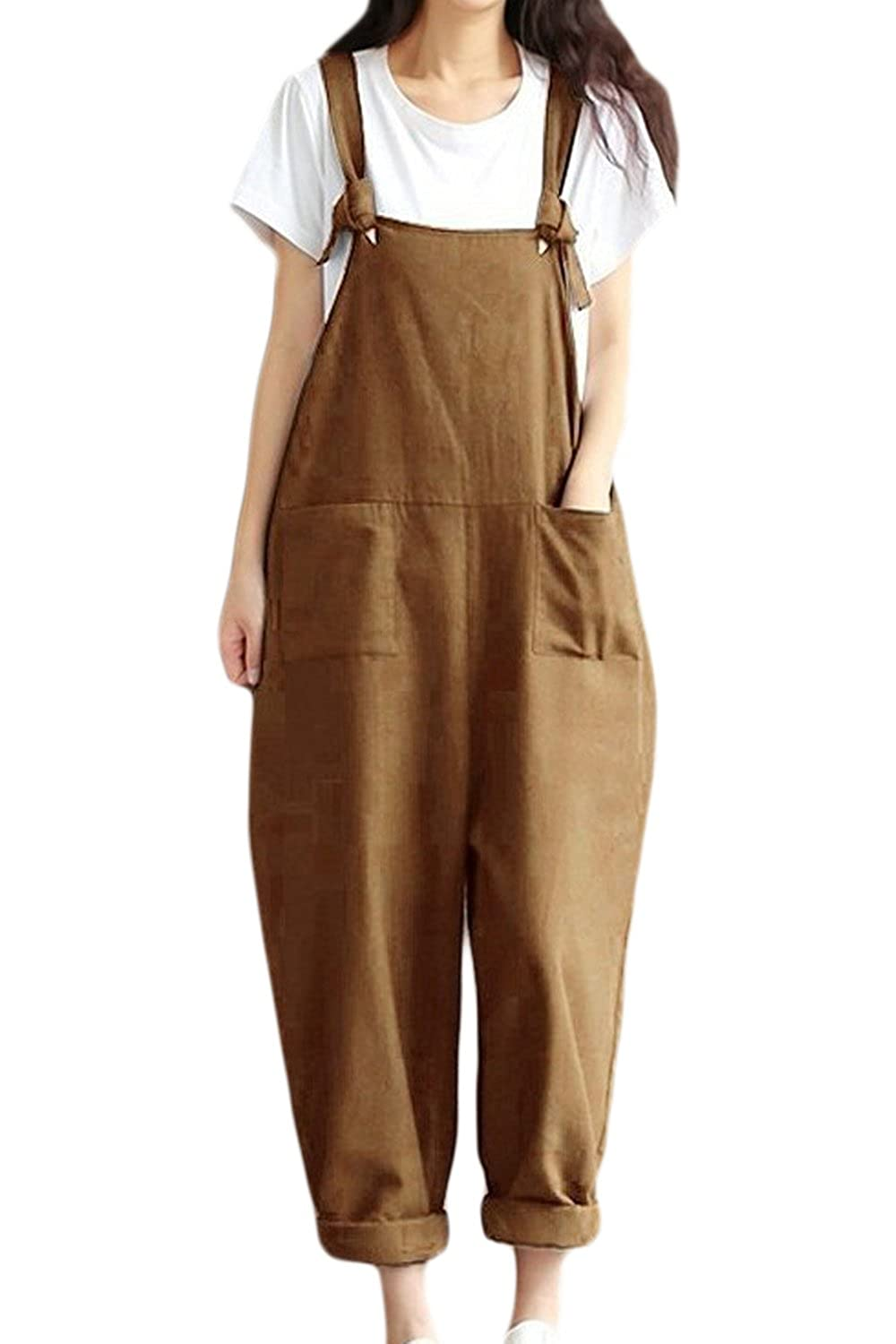 Vepodrau Women Cotton Linen Overalls Dungarees Vintage Baggy Loose Long Jumpsuits Rompers with Pockets