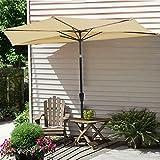 Cheap Triprel Inc. Outdoor 9ft Half Umbrella Outdoor Patio Market Home Restaurant Beach 5 Ribs Open – Beige