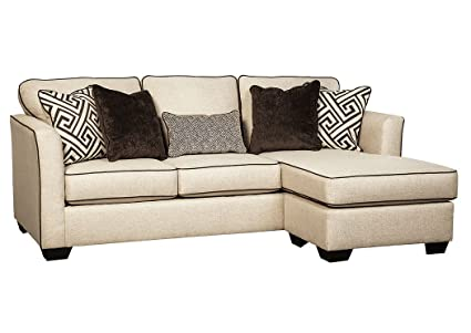 Benchcraft Carlinworth Contemporary Sofa Chaise Sleeper   Queen Size  Mattress Included   Linen