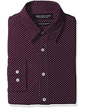 Men's Printed Dot Stretch Dress Shirt