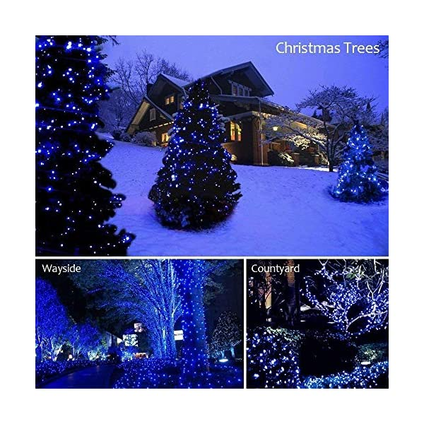 EPESL Luci natalizie 12m 120 leds con 8 modalità di memoria end to end estensibile catene luminose esterni ed interni decorazione per giorno di natale alberi casa Halloween festa giardino - blu 6 spesavip
