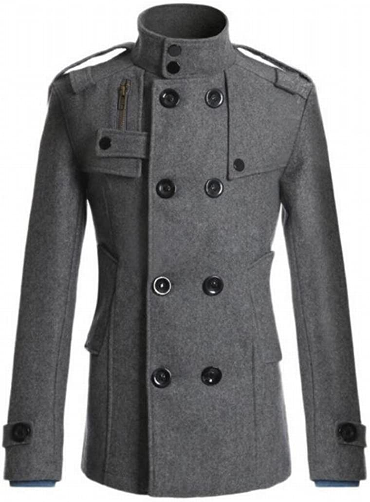 WSPLYSPJY Men Classic Double Breasted Wool Blended Slim Fit Pea Coats Grey S