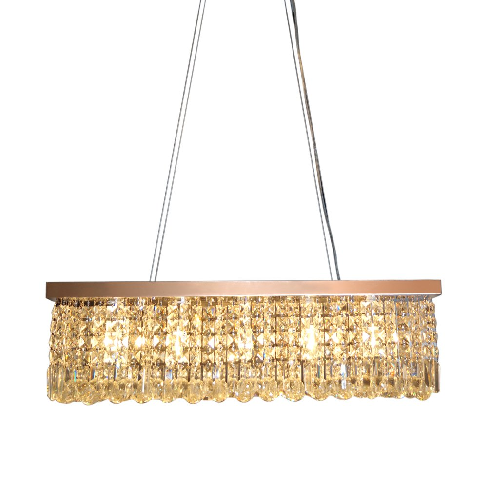 CRYSTOP Rectangle Crystal Chandeliers Dining Room Modern Ceiling Light Fixtures Hanging Chandelier Pendant Light Living Room Beautiful Fixture Polished Chrome Finish L31.5'' x W9.8'' x H8.9'' by CRYSTOP
