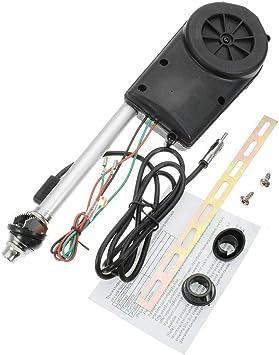Riloer Antena Automática de Radio Eléctrica para Coche, Kit de Montaje Aéreo Eléctrico para Coche con Montaje de Ala de 12VDC