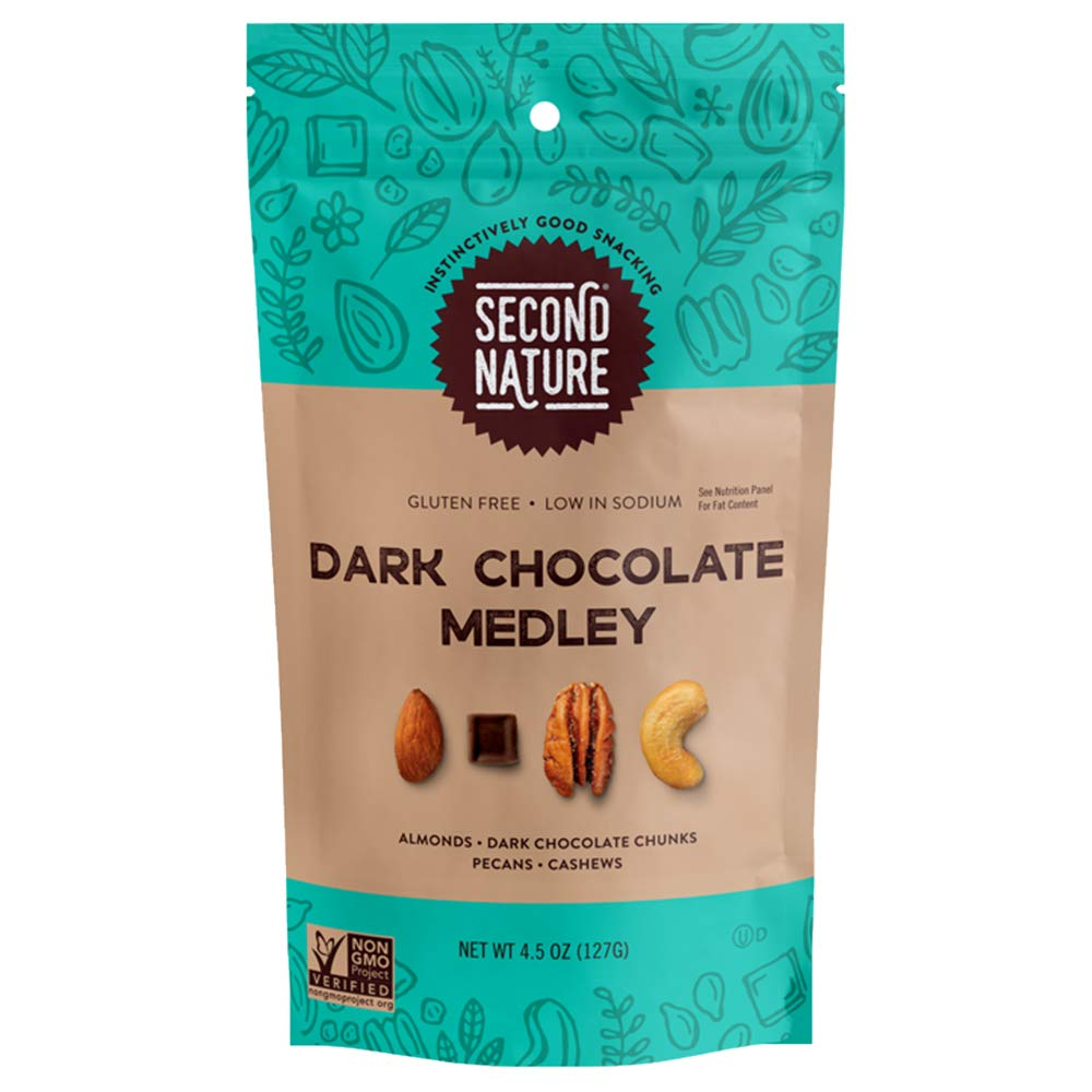 Second Nature Dark Chocolate Medley Trail Mix Healthy Snack - 4.5 oz Bag (Pack of 12)