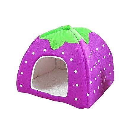 UEETEK Casa Cama Perro Cama Gato Invierno Cueva para Perros Gatos Mascotas Suave Cálido Fresa Púrpura