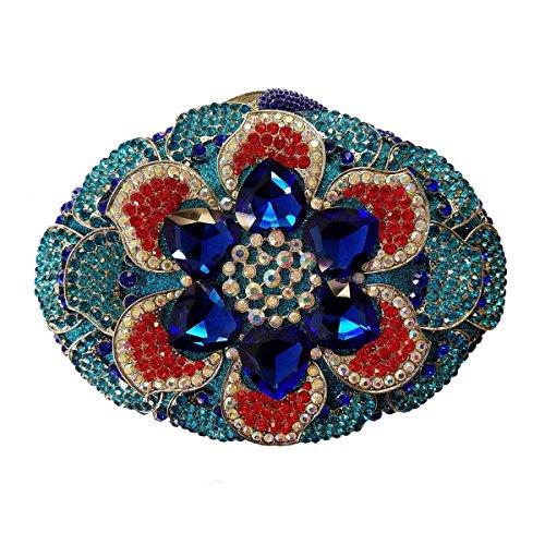 Femmes Sac Main De Sac Haute Des Soirée Cristal De Qualité Blue Diamant à SqEza