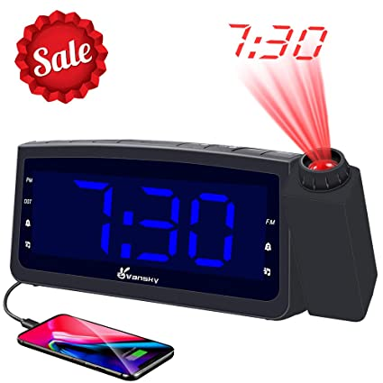 Vansky Projection Alarm Clock Radio with USB Charger, Digital Projection  Clock for Bedrooms, FM Radio, 6 57