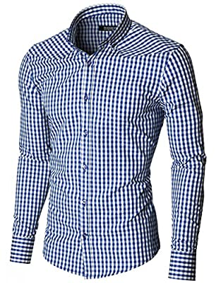 MODERNO Mens Checkered Shirts Dress Slim Fit Long Sleeve Button down (MOD1458LS)