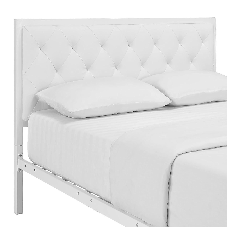 Platform bed frame white - Amazon Com Modway Mia Vinyl Platform Bed Frame Queen White Kitchen Dining