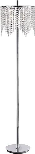 Edvivi Marya 3-Light Chrome Crystal Beaded Round Shade Chandelier Floor Lamp Fixture | Glam Lighting