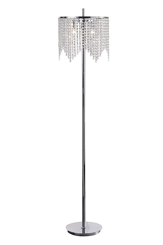 Edvivi Marya 3-Light Chrome Crystal Beaded Round Shade Chandelier Floor Lamp Fixture Glam Lighting