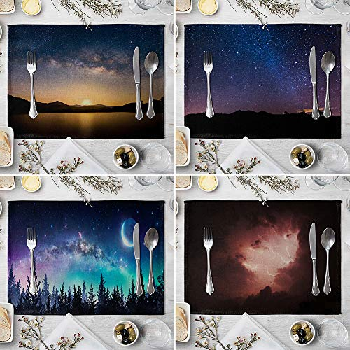 memorytime Night Starry Sky Linen Placemat Kitchen Dining Table Mat Bowl Pad Coaster Decor Kitchen Dining Supplies - 9# by memorytime (Image #4)