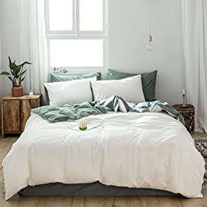 AMZTOP 【Newest】 Classic White Duvet Cover Queen Solid Color Comforter Cover Reversible Quilt Cover White and Green Chic White Duvet Cover Simple Stylish with Zipper Ties Hotel Quality