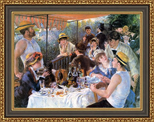 Party Large Framed Print - Pierre Auguste Renoir The Luncheon of the Boating Party Framed Canvas Giclee Print - Finished Size (W) 35.6'' x (H) 28.1'' [Black/Gold] (V07-35M-MD535-70)