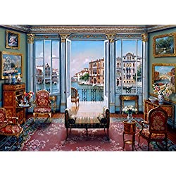 The Jigsaw Puzzle Factory Elegant Interiors Venetian View, John O'Brien Venice, Italy Puzzle Games for Adults, 1000Piece, Large Unique Cut, Made in The USA, for Ages 12+