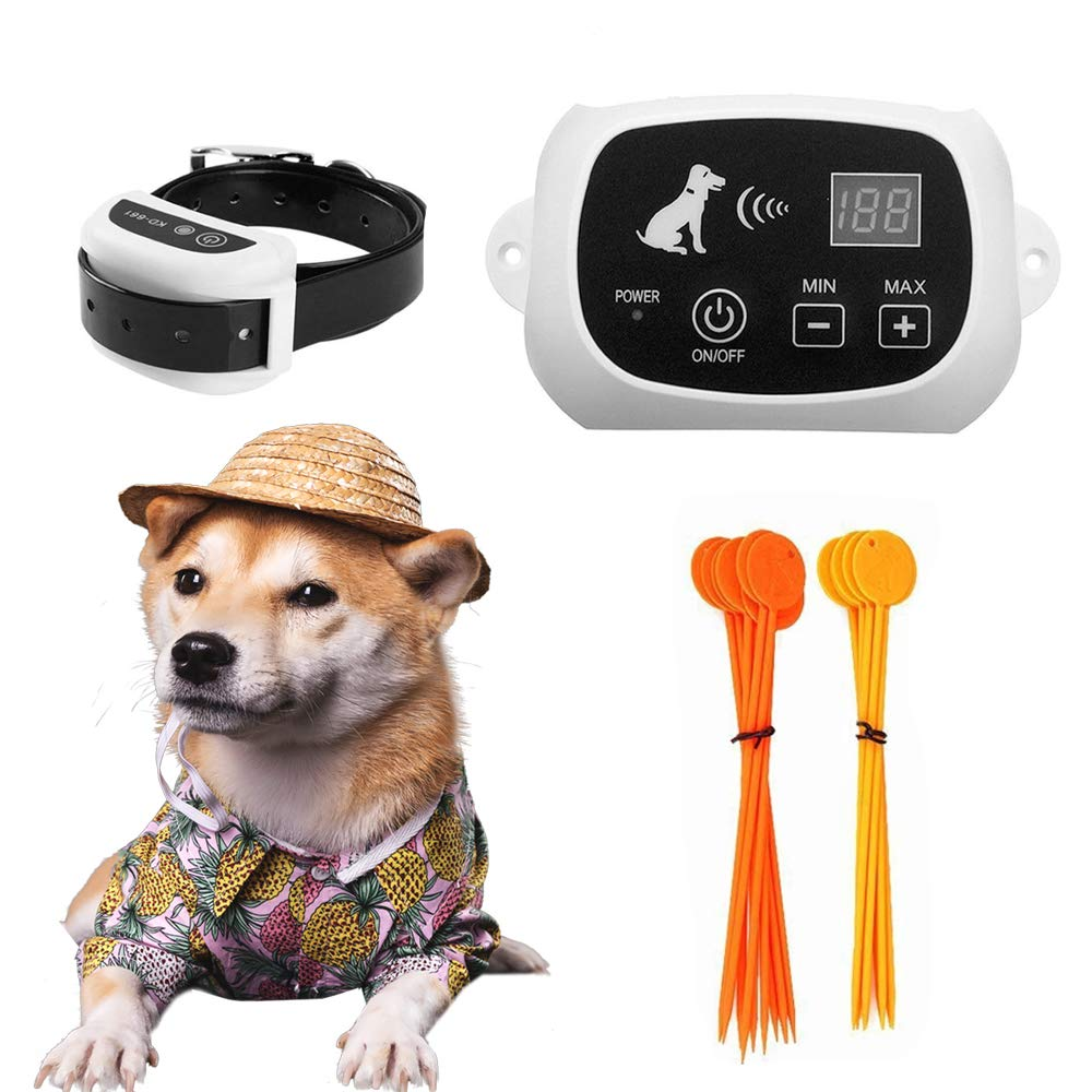 FOCUSER Electric Wireless Fence for Dogs, Pet Containment System for Dog and Pets with Waterproof and Rechargeable Training Collar Receiver Boundary (with 20 Training Flags)