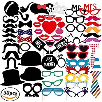 Party Photo Booth Props Kit 58pcs Wedding