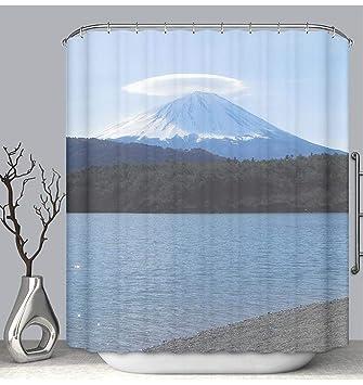 BEICICI Color Shower Curtain Liner Anti Mildew Antibacterial Mount Fujit With Umbrella Cloud Custom
