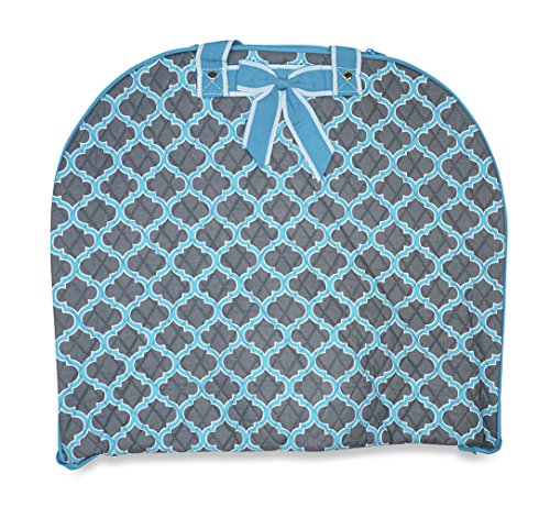 Price comparison product image Ever Moda Quilted Hanging Garment Bag Collection (40-inch) (Quatrefoil - Grey Blue)