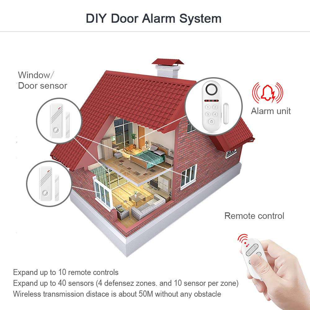 Eray Door Alarm System 120db Double Sided Magnetic Wireless Window Circuit Diagram Anti Theft For Home Security 1 Host 2 Contacts Remote Control