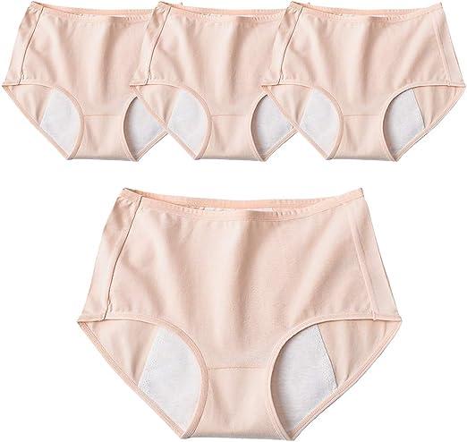 April Story Menstrual Bragas Mujeres 4 Unids Fisiológica Período a Prueba de Fugas Pantalones Algodón Ropa Interior Transpirable Braguitas Cintura Media,XL: Amazon.es: Hogar