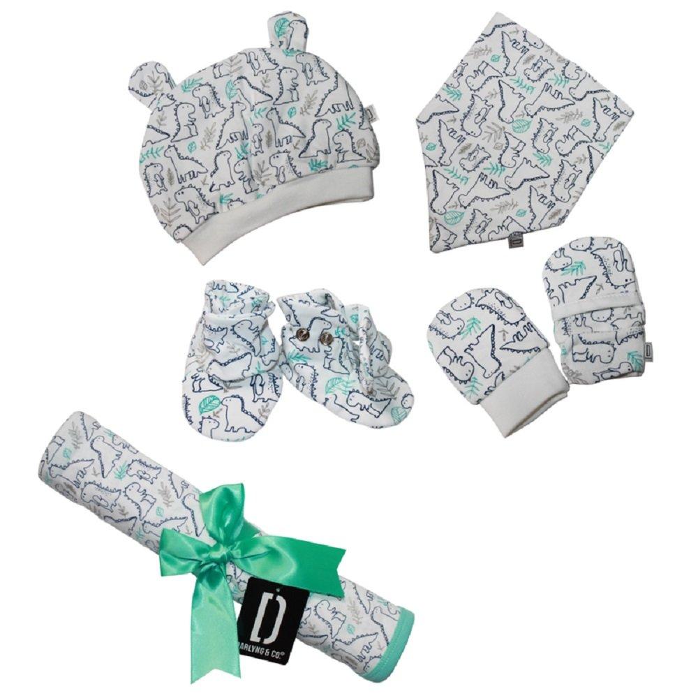 Darlyng & CO.'s Newborn Baby Essentials Gift Set (7 Pieces) 0-6 Months: Includes- Blanket, Hat, Scratch Mitten, Bib, Booties