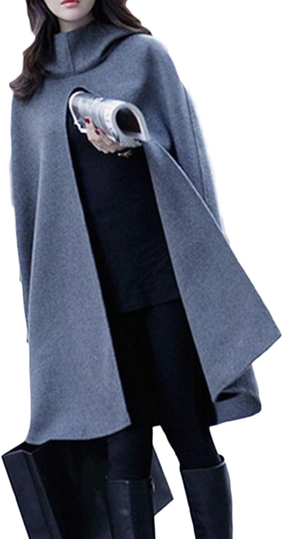 Zilcremo La Mujer Otoño Invierno Elegante Maxi Capa con Capucha Chaqueta Outwear