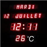 Horloge Digitale Murale - Date + Heure + Température - 28.5 x 28.5 x 4 cm - Aluminium
