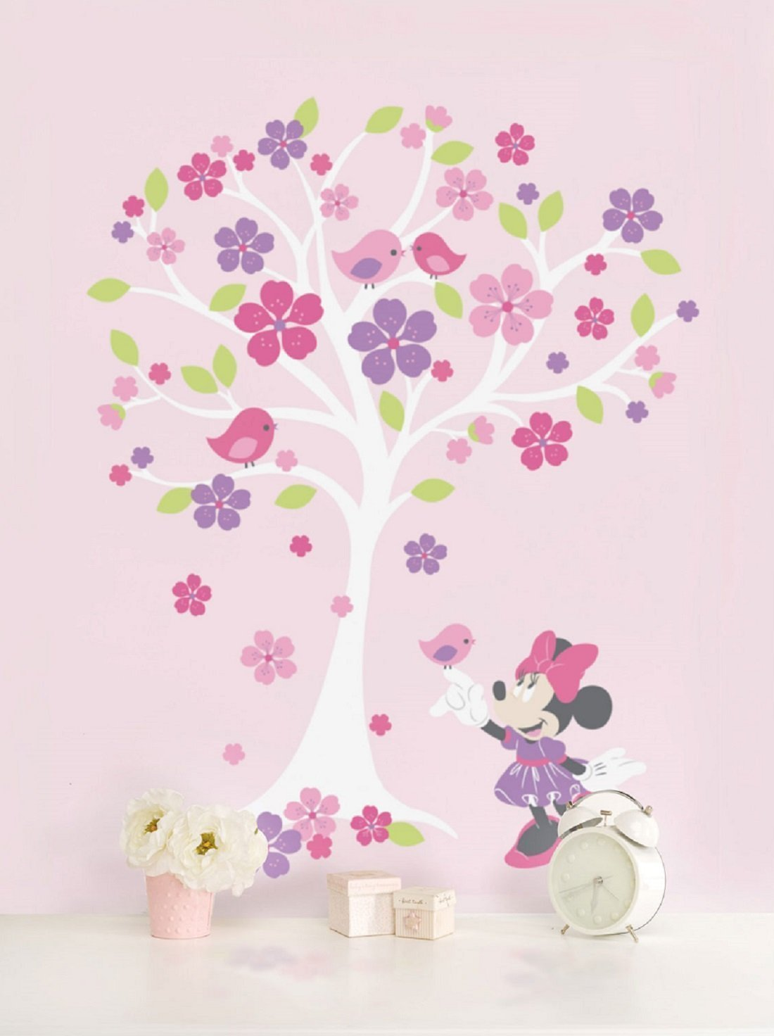 Amazon.com: Disney Baby Minnie Mouse Love Blossoms Baby Girl Wall Decal  Pink: Home Improvement