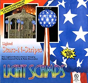 Stars-N-Stripes Lighted Outdoor/Indoor Hanging Nylon Covered Party & Patio Decoration